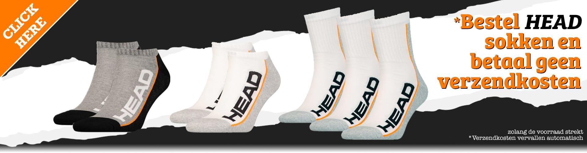 Geen verzendkosten bij aankoop van een set HEAD Sokken!